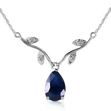 14K Solid White Gold Necklace w Genuine 1.52 ctw Blue Sapphire and Diamonds
