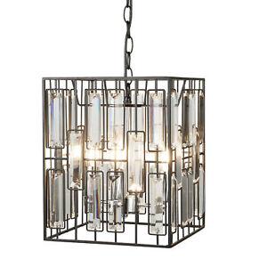 Moderne Luminaire Suspendu Lampe 4 Fl Metal Noir Mat Verre Ebay