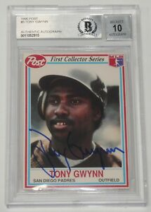 Tony-Gwynn-Signed-1990-Post-Padres-Baseball-Card-5-BAS-COA-Gem-Mint-10-Autograph