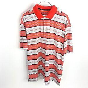 Nike-Golf-Tour-Performance-Polo-XL-Orange-Stripes-Dri-Fit-Short-Sleeve-Mens