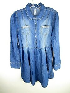 Justice-Girls-Chambray-Dress-Size-16-Plus-Jewels-Buttons-Blue-K1