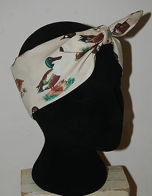duck print head scarf rockabilly 50s pin up hair wrap birds cream mallard flying