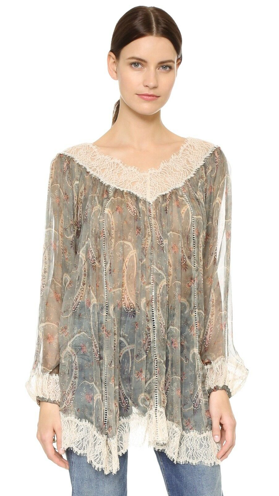 ZIMMERMANN Master Eyelash Smock Top in paisley Grün 1 small s