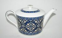 Grace Cobalt Blue,white,gold Porcelain Tea,coffee Pot-4 Cups