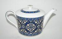 Grace Cobalt Blue,white,gold Porcelain Tea,coffee Pot-4 Cups