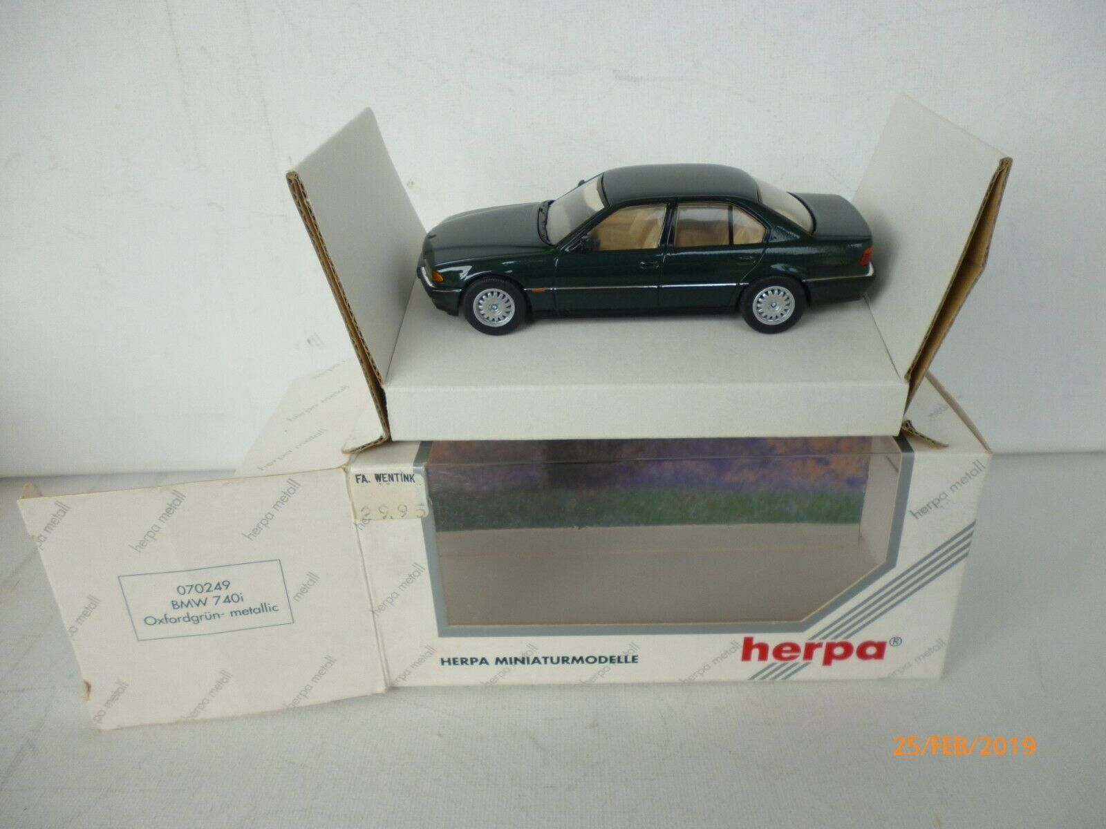 BMW 740i E38 (1994) HERPA in OVP IN verde  750i RAR NM BOXED