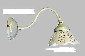 Applique lampada parete in ottone avorio antico con ceramica