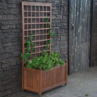 Jordan Manufacturing Wood Planter Box with Trellis, Brown