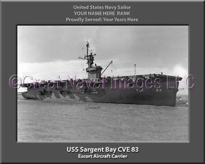 USS Manila Bay CVE 61  Personalized Canvas Ship Photo Print Navy Veteran Gift