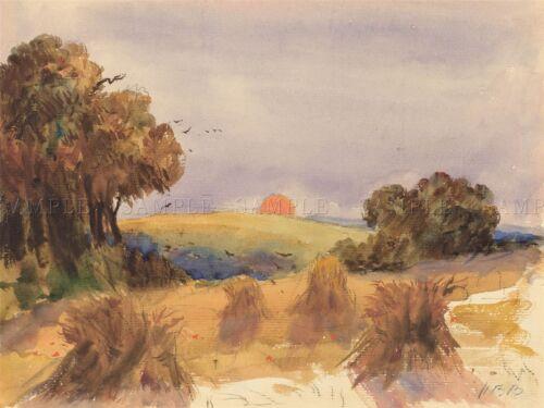 HERCULES BRABAZON BRITISH CORNFIELD SUNSET OLD ART PAINTING POSTER BB5681A