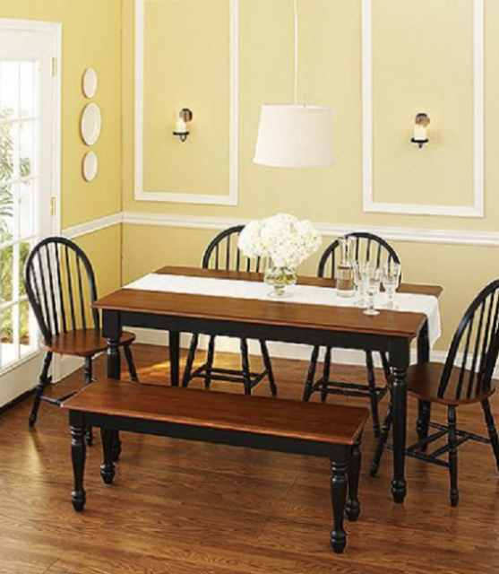 6 Piece Dining Room Table Set Farmhouse Solid Wood Kitchen Tables And  Chairs Set