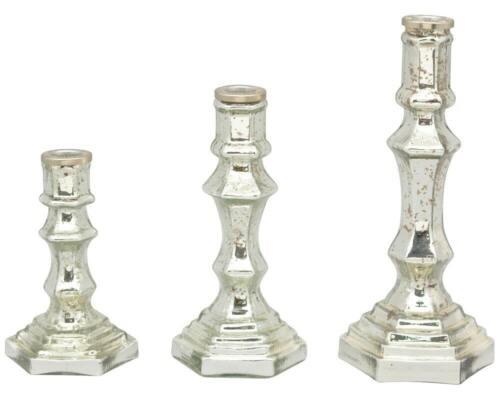 Kerzenhalter Kerzenständer Deko Glas Shabby Vintage Style silber 1 Stk 3 Größe