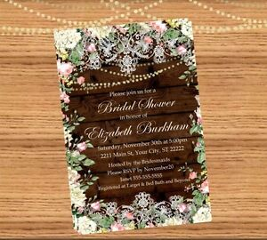 Bridal shower invitation digital file jpeg you print ebay image is loading bridal shower invitation digital file jpeg you print filmwisefo