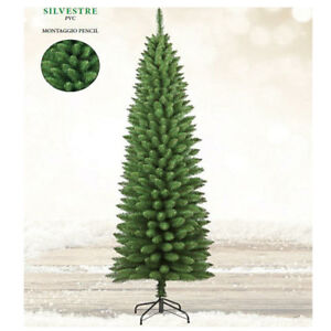 Albero Di Natale Slim 210.Albero Di Natale 210 Cm Slim Verde Silvestre Pino Salvaspazio Alberi