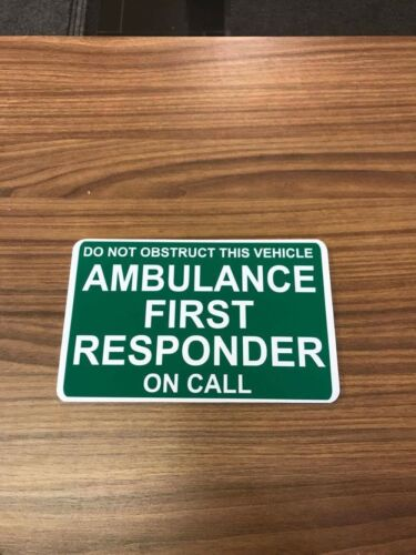 AMBULANCE FIRST RESPONDER on call Dash Card car windscreen Ambulance Hospital
