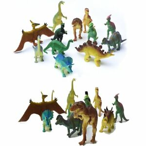 "12 pc Lot 5-7"" Large Assorted Dinosaurs Toys Toy Dinosaur Figures Thick Plastic"