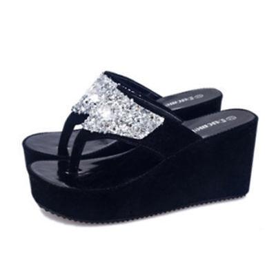 Summer Women Sandals High Heel Rhinestone Platform Shoes Flip Flop Wedge Slipper   eBay