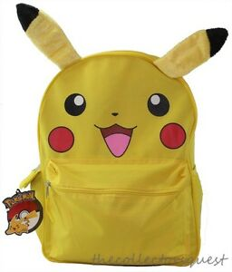 dcdb99efebfe Pokemon Pikachu with 3D PLUSH EARS Large Yellow School Backpack 16 ...