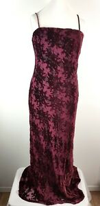 Monsoon-Burgundy-Red-Silk-Mix-Crushed-Velvet-Long-Maxi-Party-Evening-Dress-UK-14