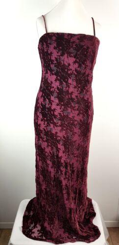 Long Monsoon Party 14 Crushed Mix Red Maxi Dress Burgundy Silk Uk Evening Velvet qOqYTA
