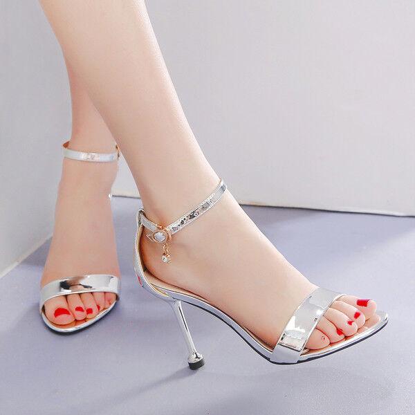 Sandali  stiletto 11 cm argent gioiello spillo tacco simil pelle eleganti 1427