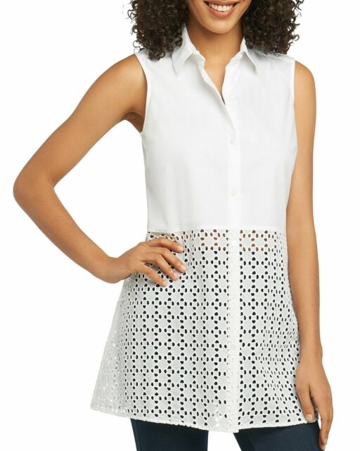Foxcroft Womens Embroidered Eyelet Tunic