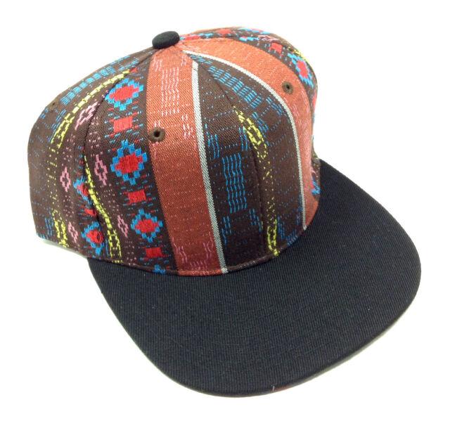 2 TONE BLACK BROWN NAVAJO PRINT SNAPBACK HAT CAP ABSTRACT AZTEC NATIVE AMERICAN