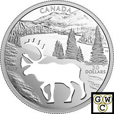 2017Woodland Caribou-Endangered Animal Cutout' Prf $30 Silver .9999Fine(18004)NT