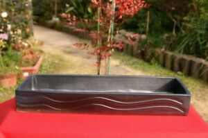 Ikebana-Arita-yaki-pottery-Large-Flower-vase-Suiban-Tatara-handcraft-Black-Kasen