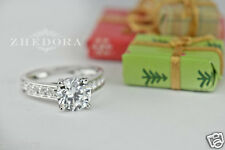 2.15 Round Cut Solitaire Engagement Wedding Ring Accent 14k White Gold Zhedora
