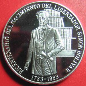 1983-VENEZUELA-100-BOLIVARES-90oz-SILVER-PROOF-SIMON-BOLIVAR-BIRTH-BOOK-SHELF