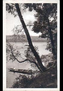 LAC-DES-SETTONS-58-BARQUE-avec-PECHEUR-a-la-ligne-Postee-a-BRASSY-en-1948