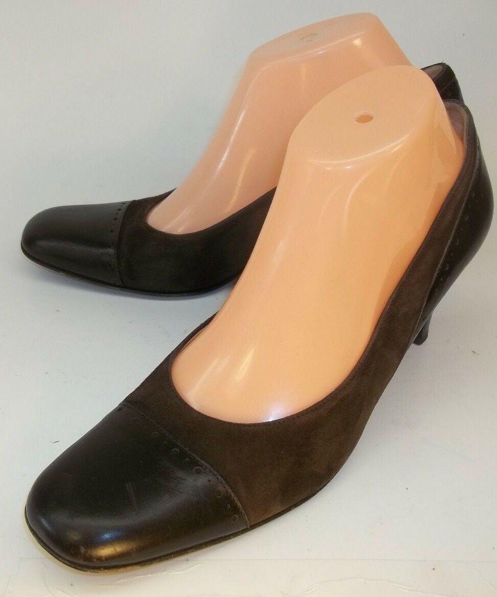 Talbots Wos Pumps Work Heels US 9M Brown Leather Suede Slip-On Cap Toe Italy