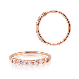 Sterling-Silver-925-Rose-Gold-Plated-7-CZ-Accent-Hoop-Helix-Tragus-Nose-Ring-20G