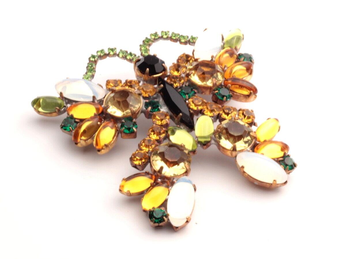 2c002701c998c jewelry rhinestone glass handmade Czech pin butterfly opaline topaz ...