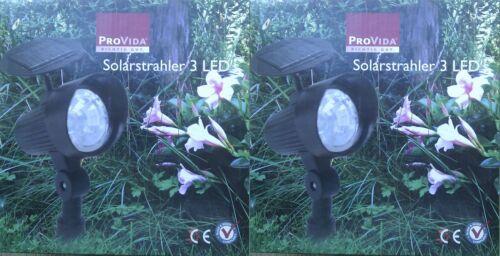 2 x Solarstrahler 3 LED/'s-Solarbetrieben,schwenkbar,kabellos***NEU/&OVP***