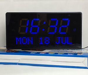 Multi-LED-numerique-Horloge-murale-avec-Affichage-de-date-Alarme-Grande-Clair