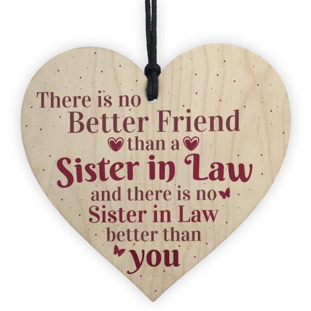 Handmade Sister In Law Wooden Heart Chic Thank You Gifts For Her Friendship Sign