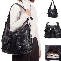 Women Purse PU Leather Lady Messenger Shoulder Bag Tote Satchel Washed Handbag