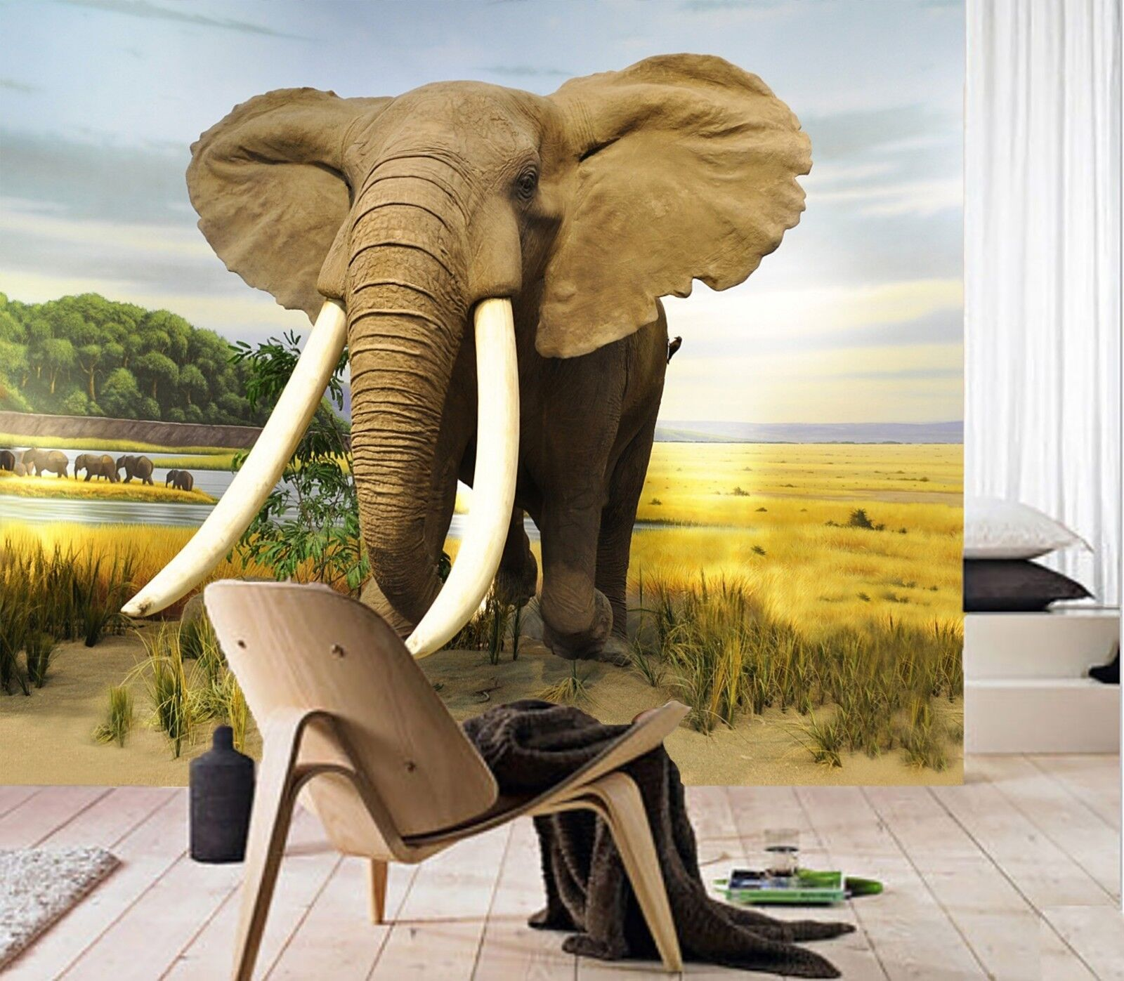 3D Grassland Elephant 66 Wall Paper wall Print Decal Wall Deco Indoor wall Mural