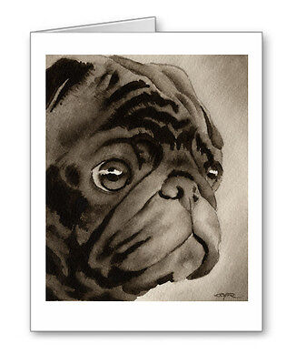 BLACK PUG note cards by watercolor artist DJ Rogers