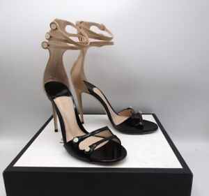 0b20cea2514 Gucci High Ankle Faux Pearl Buttons Stiletto Sandals Two Tone 38.5 ...