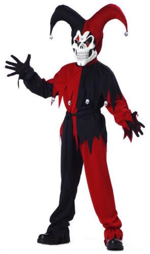 Evil Jester Mardi Gras Red Black Joker Horror Clown Halloween Boys Costume