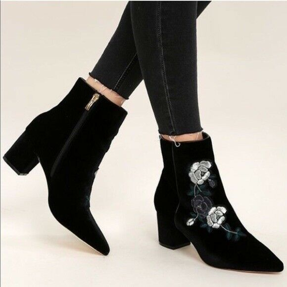Womens Steve By Steve Madden Boot Brooker Black Floral Detail Ankle Booties 10