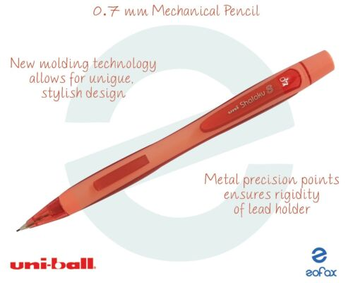 UNI-BALL Shalaku 0.7mm Mechanical Pencil With Rubber Tip RED Stylish Body