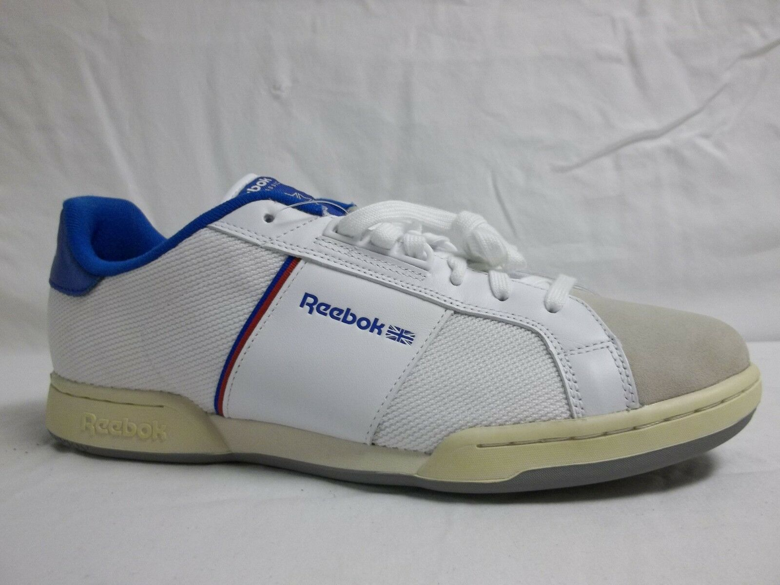 Reebok Siz 12 M NPC Weiß Blau Leather Low Athletic Turnschuhe New Mens schuhe NWOB