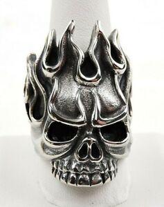 Stainless-Steel-Flaming-Skull-Biker-Ring-Free-Gift-Packaging