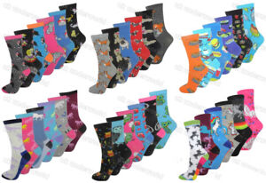 6-Pairs-Ladies-Womens-Novelty-Design-Socks-Cotton-Blend-Designer-Adults-4-7