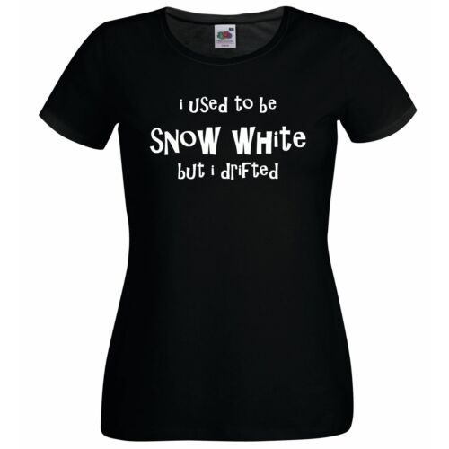 I Used to Be Snow White Tshirt Lady Fitted Black Novelty Funny Joke T Shirt