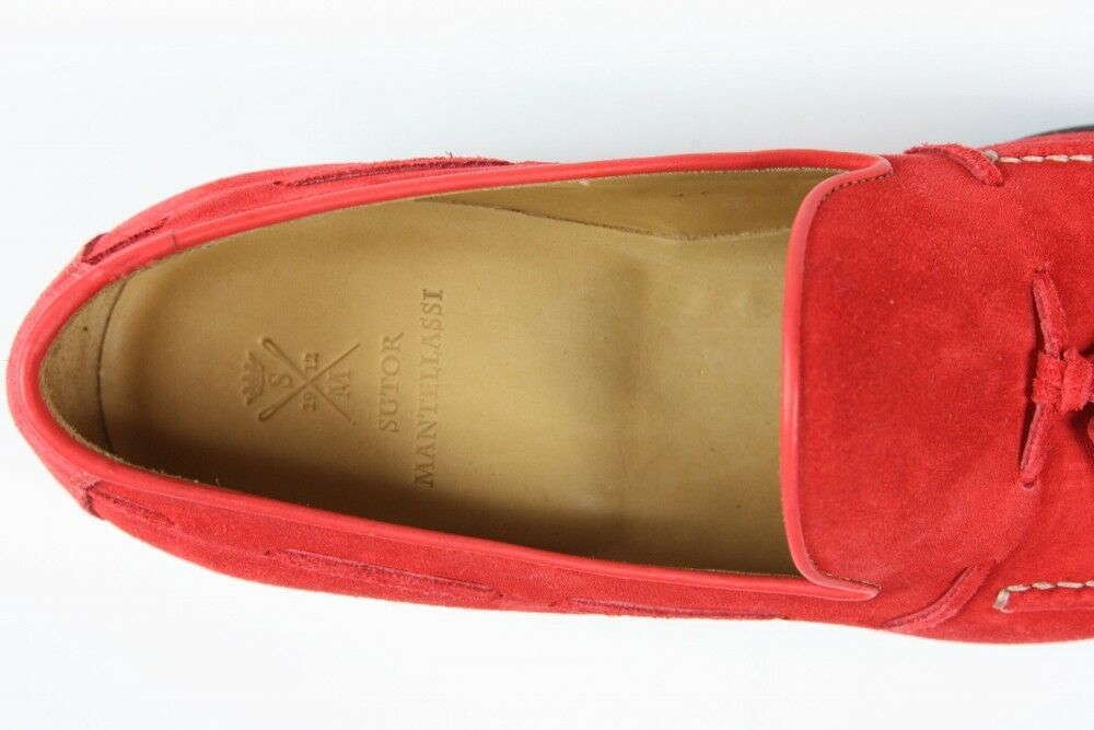 FINAL SALE Sutor Mantellassi Shoes: Shoes: Shoes: 6 UK / 7 US Soft red suede tassled loafers 31fdbc